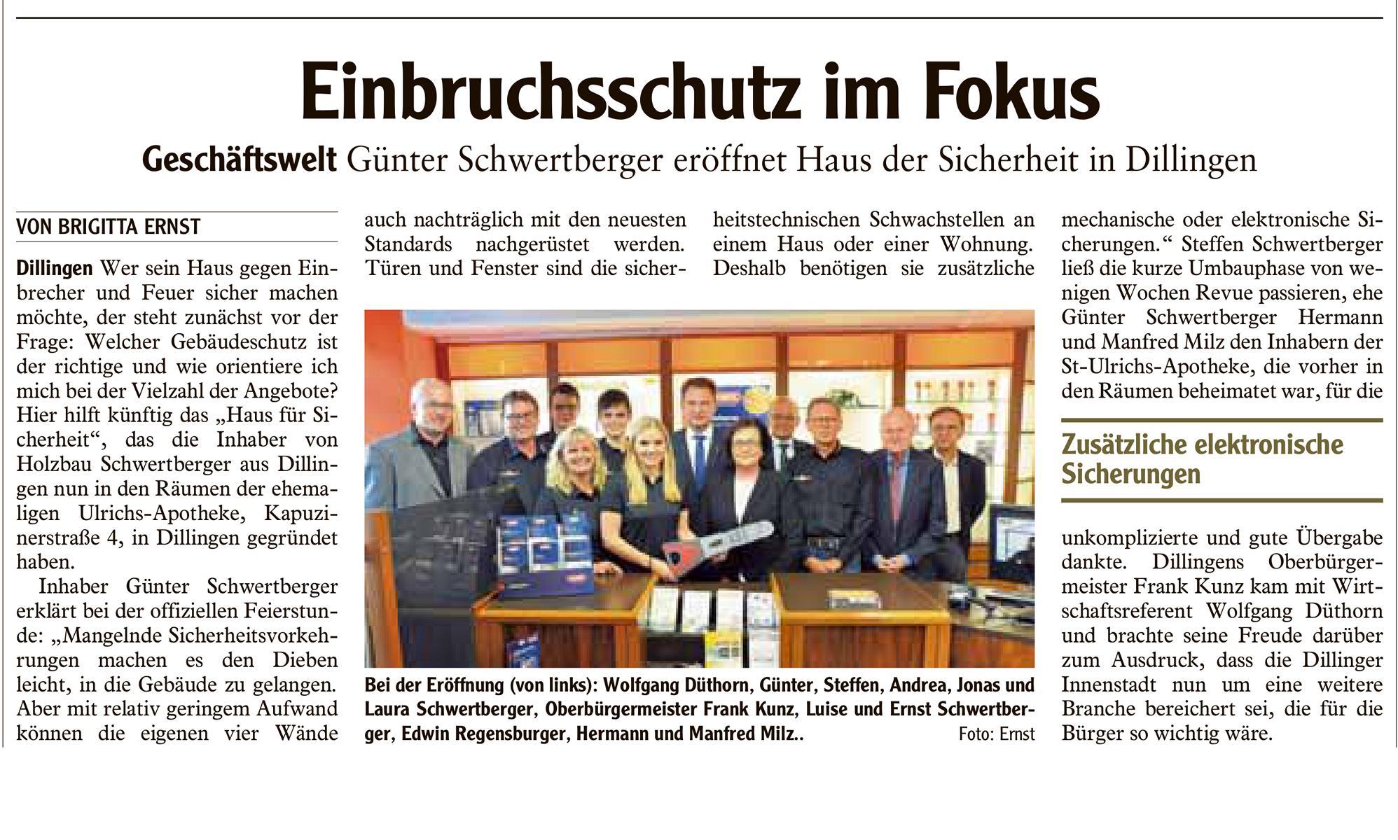 Neueröffnung Haus für Sicherheit – Holzbau Schwertberger
