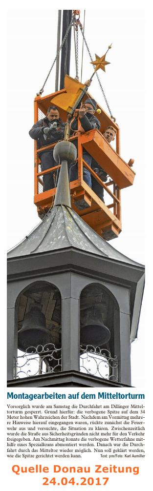 Montagearbeiten Mitteltorturm April 2017