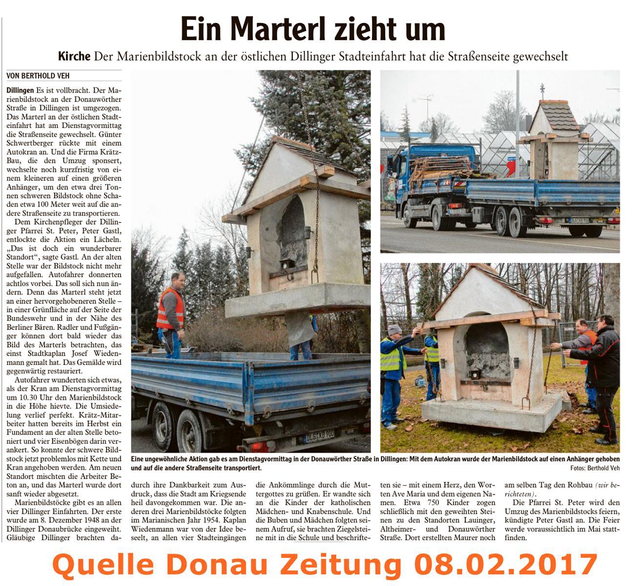 """Kranarbeiten """"Marterl zieht um"""""""