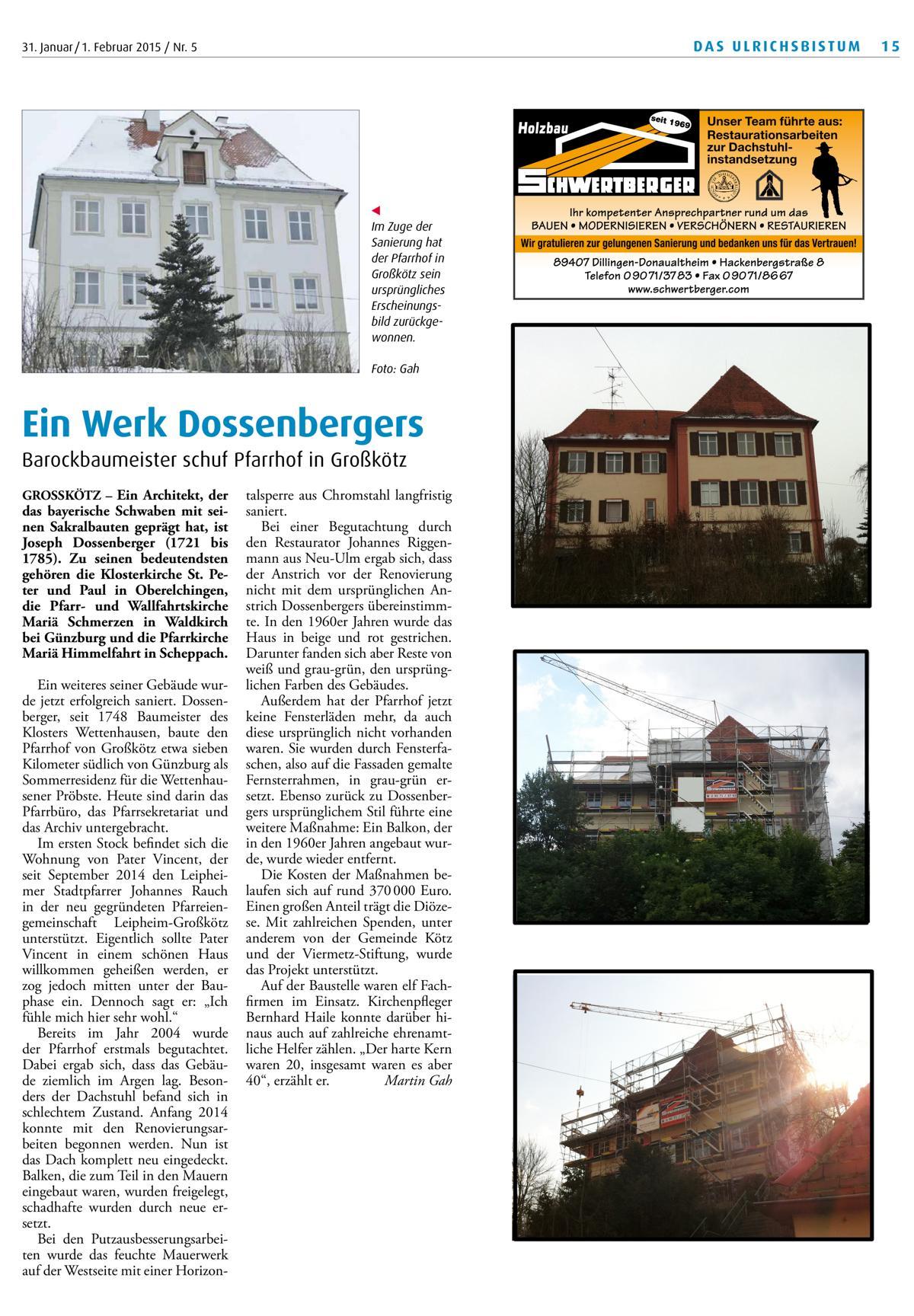 Sanierungsarbeiten Pfarrhof Großkötz erfolgreich abgeschlossen
